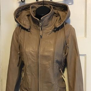Aqua Jackets & Coats - Aqua Tan Leather Hooded Bomber